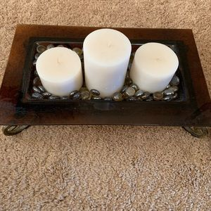 Glass Candle Tray with Metal Stand